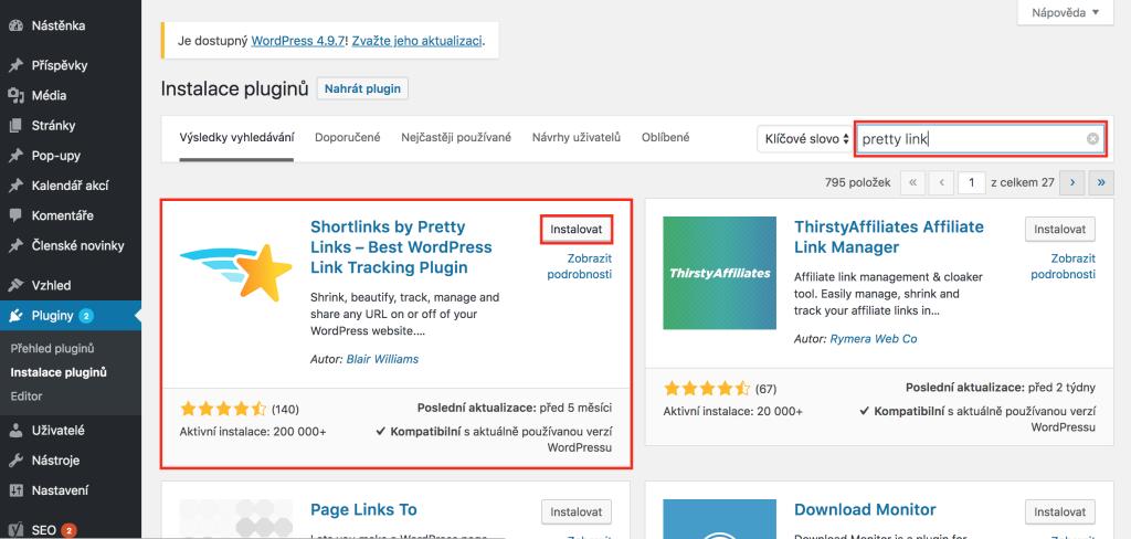 Instalace pluginu Pretty Links